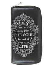 New Music Quote Zipper Zip Around Wallet Faux Leather Billfold Clutch
