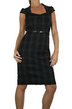 NEW (3969-3) Elegant Tartan Button Front Belted Dress Fully Lined Black 8-18