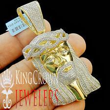 MENS REAL GENUINE PAVE DIAMOND JESUS PIECE PENDANT CHARM 10K GOLD FINISH 2.75''