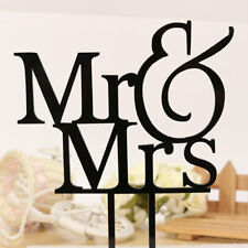 Rmantic Mr & Mrs Cuple Silhuette Wedding Cake Tpper Black Acrylic Decr