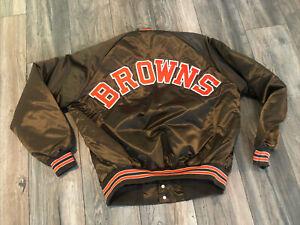 Deadstock Cleveland Browns Satin Chalk Line Jacket Men's Xl New 80's 90's