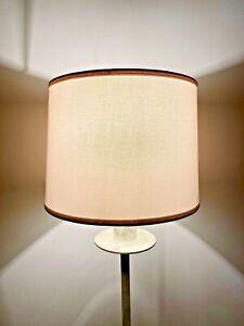 WHITE RETRO DRUM LINEN Hardback LAMPSHADE Versatile A CUTE SHADE! NeW PRETTY