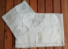 Vintage Leacock Linen Embroidered Cutwork Cream Tablecloth Napkin Set Portugal