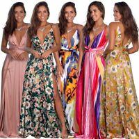 Women's V-neck Sling Floral Slit Sexy Dresses Ladies Summer Holiday Beach Dress