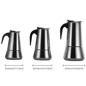 Espressokocher Mokka-Kaffeekanne Espresso Espressomaker Edelstahl 6/9/12 Tassen