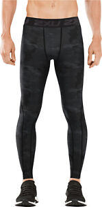2XU Accelerate Print Long Mens Compression Tights Dark Grey Gym Training Workout