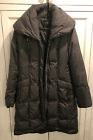 COLE HANN LONG PUFFER COAT JACKET PARKA QUILTED TAFFETA DOWN WOMENS SIZE M Green