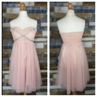 Eva & Lola Baby Pink Diamanté Strapless Dress Tulle Skirt Party Prom Size L NEW