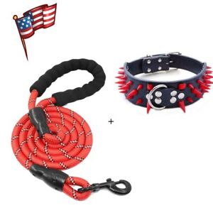 Strong Dog Leash Climbing Rope Reflective &Spiked Rivet Dog Collar Adjustable