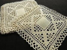 Lovely Antique Lefkara Lace Embroidered Linen 6 Cocktail Napkins 8x8""