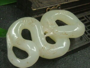 Antique Chinese Nephrite Celadon Hetian OLD Jade Snake Statue QING
