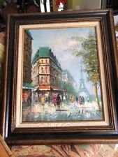 Original Oil Painting By T. CARSON SIGNED Downtown France Eiffel Tower Stunning