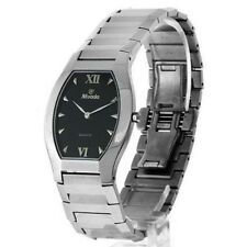 WOMENS NIVADA SUPER SLIM SWISS WATCH SILVER STAINLESS STEEL BLACK DIAL