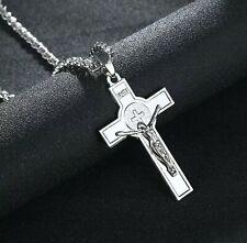 Men Unisex Silver Necklace Chain Large INRI Jesus Cross Crucifix Pendant.
