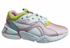 Puma Nova x Barbie Pink White Leather Low Lace Up Kids Trainers 370731 01