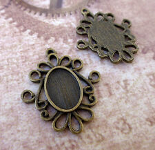 Antique bronze settings Cabochon Resin base setting pendant blanks - 10 pcs