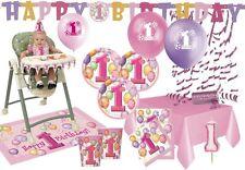 XXL Party Deko Komplett Set zum 1. Geburtstag für bis 16 Personen - Erster Rosa