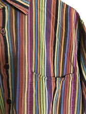 Vintage Robert Talbott  Rainbow Striped Long Sleeved Button Down Shirt Size M