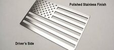 Pair (2) Stainless Steel American Flag Emblems Decal Sticker Polished Large 4x6