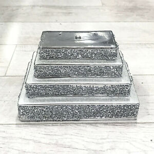 SILVER CRUSHED DIAMOND SPARKLY PILE OF BOOKS NEW DECORATION SHELF SITTER BLING