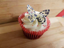12 EDIBLE BUTTERFLY ANIMAL PRINT CUPCAKE CAKE TOPPER DECORATIONS LEOPARD SKIN