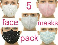 100% Cotton Face Mask Mouth Cover Double Layer Nose Wire Washable Pack of 5 or 1
