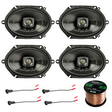 "4x Polk 5x7"" 225W 2-Way Car/Boat Speakers, 4x Speaker Harness Adapter,50Ft Wire"