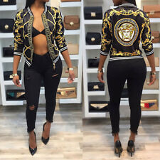 USA Women Fashion Long Sleeve Zipper Casual Baseball Print  Blazer Jackets