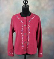 Vintage LL Bean Women's Button Front Sweater Size Large Embroidered Floral Soft