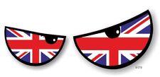 Pair Of ANGRY EVIL Eyes Eye Union Jack British Flag car Motorbike Helmet Sticker
