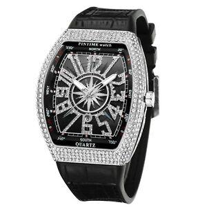 Montre pour homme de luxe Diamond Bling Montres bracelet en silicone