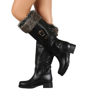 New Faux Fur Cuff Knee High Combat Riding Rain Boots Lug Sole Platform Low Heel