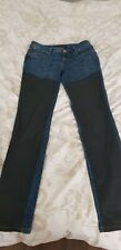 Ladies River Island Skinny Jeans size 10. Mid Blue with faux leather panels.