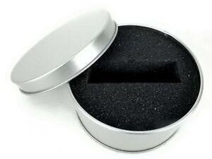 Circular Tin Gift Box, Round Silver Slip Cover Can w/Black Foam Insert, #BOX30