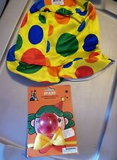 NEW Clown Costume Hat W/Blinking Nose Yellow Bow Tie Multicolor Halloween Party