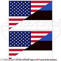 "USA United States America-ESTONIA American-Estonian Flag, 3"" (75mm) x2 Stickers"