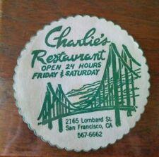 "VTG Charlie's Restaurant San Francisco Paper Coaster 3.25"" Golden Gate Bridge"