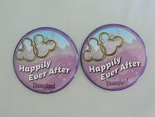 "Disneyland 3"" Set 2 HAPPILY EVER AFTER Button Pin Married Disney Park Castle NEW"