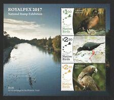 NEW ZEALAND 2017 ROYALPEX (NATIVE BIRDS) STAMP EXHIBITION SOUVENIR SHEET MINT