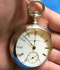 Antique 1884 Elgin Illinois 18s  Sterling Silver Coin  Pocket Watch  Runs 160g