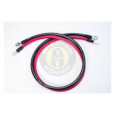 """6 Foot 1/0 AWG 0 Gauge Battery Cable Set with 3/8"""" Ring Terminals -  Made in USA"""