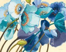 Shirley Novak: Le Pavots Bleu Fertig-Bild 55x70 Wandbild Blumen Mohn blau Deko