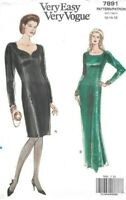 Vogue Sewing Pattern 7891 Very Easy, Vintage Dress Sweetheart Neck Long Size 12
