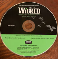Wicked A New Musical Orig  Broadway Cast Recording by Chenoweth & Menzel 2003 CD