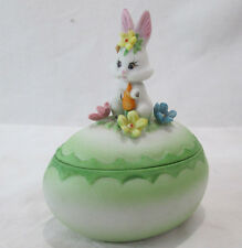 Vintage Bone China Easter Egg Rabbit + Flower 2pc Decorative Figurine Signed Jr