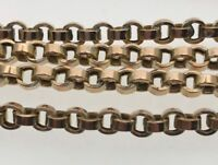 "Victorian Longguard 9ct Yellow Gold 43 1/2"" Muff Chain Belcher Link Circa 1880"