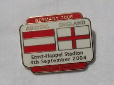 AUSTRIA V ENGLAND QUALIFYING FOR WORLD CUP 2006 OFFICIAL PIN BADGE VERY GOOD CON