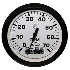"Faria Euro White 4"" Tachometer w/Systemcheck Indicator 7,000 RPM (Gas Johnson/Ev"