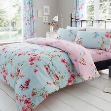 Birdie Blüten Einzelbettbezug Set Vögel Blumen Bettwäsche blau - 2 in 1 Design