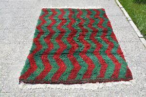 Area Tulu Rug 6x4, Home Living Burgundy Rug, Oushak Rug 4x6, Green Muted Color R